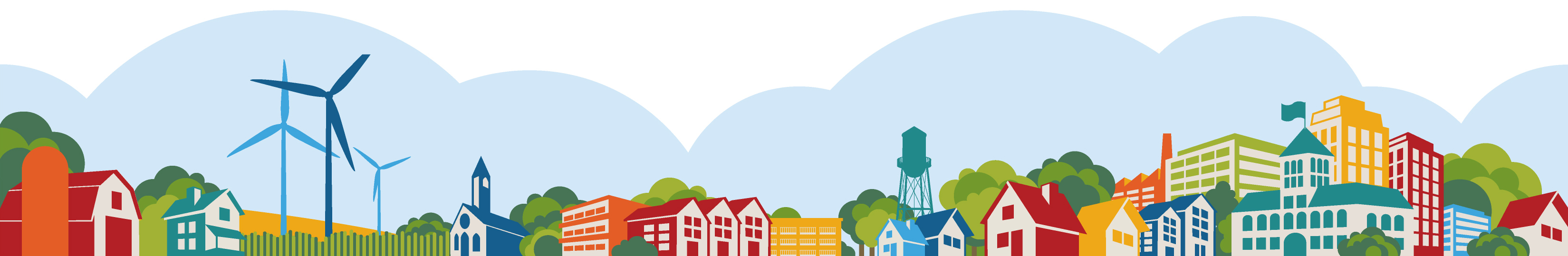Colorful banner image featuring the skyline that you might typically see in a small city or town in Greater Minnesota.