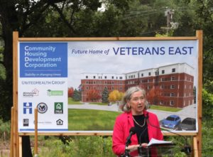 Mary Tingerthal at groundbreaking